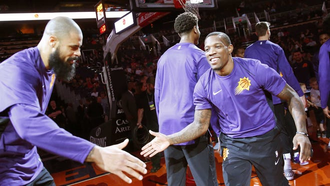 Suns guard Eric Bledsoe is introduced before playing a preseason game last week.