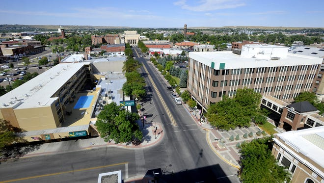 Central Avenue in downtown Great Falls, August 22, 2011, seen from the roof of the US Bank Building. TRIBUNE PHOTO/RION SANDERS
