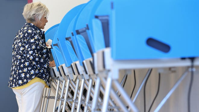 Gloria Barragan was among those who voted early May 15 at the El Paso County Sheriff's Office Headquarters.
