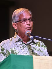 University of Guam President Robert Underwood, Ed. D., delivers a speech during the John F. Kennedy High School 2016 Commencement at the University of Guam Calvo Field House in Mangilao on June 3.