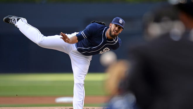 Padres starting pitcher James Shields pitches against the Giants during the first inning at Petco Park.
