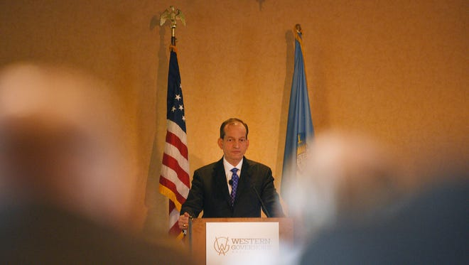 United States Secretary of Labor Alexander Acosta addressed the Western Governors' Association meeting in the Starlite Ballroom at Holiday Inn Sioux Falls-City Centre Thursday in Sioux Falls.