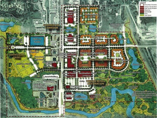 This rendering of the proposed Merle Hay Road Gateway project in Johnston shows the city's long-term vision for the area. The entire 123-acre area near Beaver Creek would include a new hotel and convention center, with possible retail, as well as new residential options.