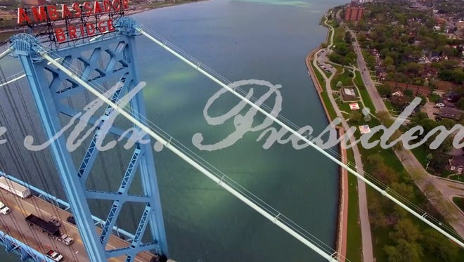 This is a screenshot from an advertisement lobbying President Donald Trump to side with the Ambassador Bridge owners in their fight against a Canadian-financed Detroit River Crossing.