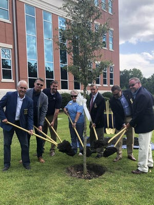 Commissioners on Tuesday planted a live oak tree at the new courthouse to honor Elizabeth Hursey, who recently retired after serving as Effingham County Superior Court Clerk for nine terms spanning 36 years. From left are Commission Chairman Wesley Corbitt, Commissioners Roger Burdette and Jamie DeLoach, Hursey and Commissioners Reggie Loper, Phil Kieffer and Forrest Floyd.