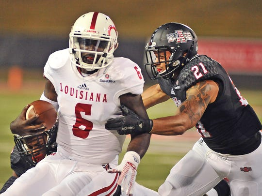 UL's Jalen Nixon (6) is tackled during a 2015 Sun Belt Conference game at Arkansas State.
