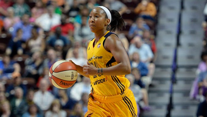 Indiana Fever's Briann January during the second half of a WNBA basketball game, Sunday, June 5, 2016, in Uncasville, Conn. Indiana won (AP Photo/Jessica Hill)