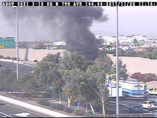 Vehicle fire on Interstate 10 near 19th Avenue in Phoenix