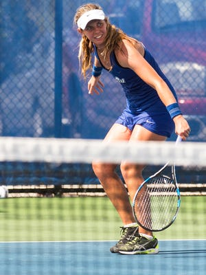 Florida Gulf Coast University's Sara Kelly starts to cramp during the Atlantic Sun Conference Finals at FGCU in Fort Myers, Fla., on Sunday, April 23, 2017.