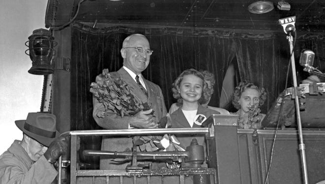 Eleven-year-old Gertrude Rose Walterman presented Richmond roses to President Harry Truman when he stopped in Richmond on Oct 12, 1948.