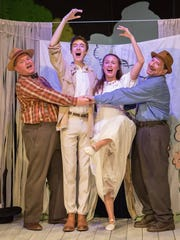 "From left, Mark Buchanan, Lucas Beckett, Jacqueline  Leach and Howard Snyder in ""The Fantasticks."""
