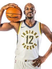 Indiana Pacers guard Damien Wilkins (12) poses for a portrait during media day at St. Vincent Center on Monday, Sept. 25, 2017.