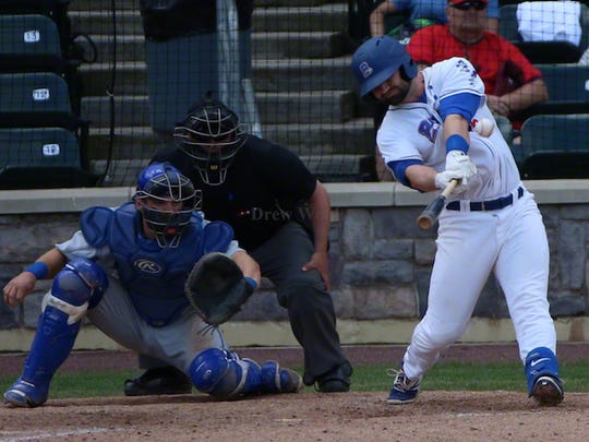 Rockland designated hitter Marcus Nidiffer connects for a  three-run homer leading the Boulders to a 6-3 victory over the Sussex County Miners at Skylands Stadium in Augusta on Friday, May 18, 2018.