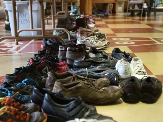 Shoes await new owners at Silverton's Trinity Lutheran Church.