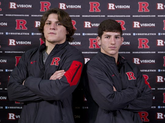 Anthony Perrotti, left, and Anthony Ashnault became Rutgers wrestling's first back-to-back All-Americans in 2014 and 2015, respectively.
