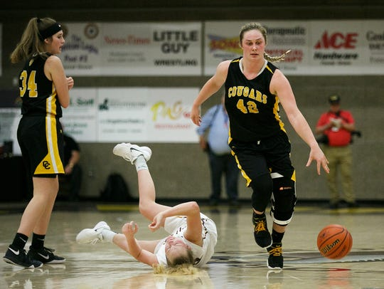 Cascade senior Halle Wright (42) drives down the court