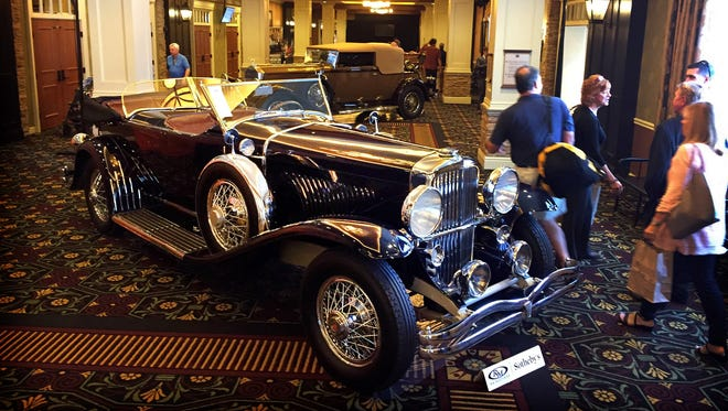 A 1927 Duesenberg Model J Duel-Cowl Phaeton with an estimated $1,600,000 to $2,000,000 value will go to auction at RM Sotheby's auction at the Antique Automobile Club of America Fall Meet in Hershey.