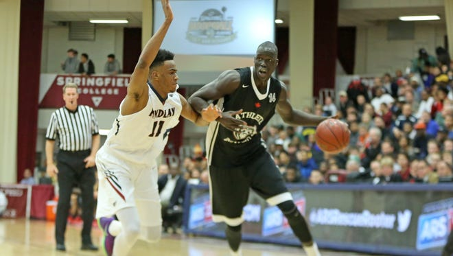 Athlete Institute's Thon Maker #14 in action against Findlay College Prep during a high school basketball game in the Hoophall Classic at Springfield College on Saturday, January 16, 2016 in Springfield, MA.