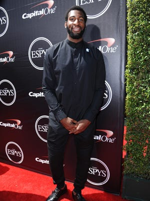 Andre Drummond of the  Detroit Pistons arrives at the ESPY Awards at the Microsoft Theater on Wednesday, July 15, 2015, in Los Angeles.