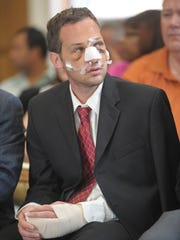 His injuries still visible from the crash, Ferretti, then 28, appeared in Municipal Court in East Rutherford on May 15, three day safter the accident that killed Lenge.