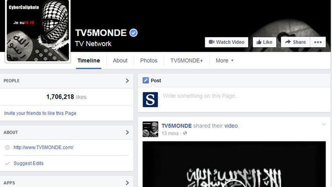 This screenshot provided by TV5 Monde on Thursday, April 9, 2015, shows its Facebook page hacked by people claiming allegiance to the Islamic State group.
