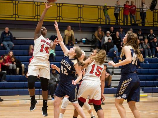 Score 12-23Chelsea's Anna Regis (42) tries to block