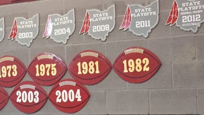 The football signs in the Bellevue fieldhouse symbolize the years the Redmen football team won Northern Ohio League Championships. Bellevue's last NOL title came in 2004.