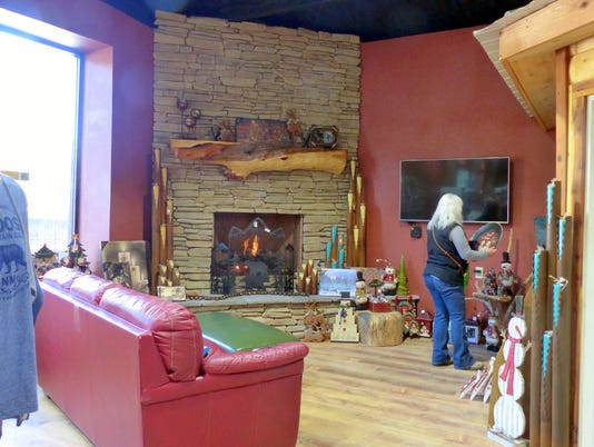 inviting fire place in the shop