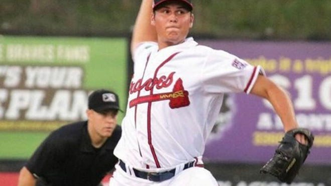 Former Minnesota Crookston closer Zach Seipel pitches for the Danville Braves, an affiliate of the Atlanta Braves, last season.