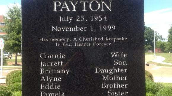Monument on the Jackson State campus to honor the late Walter Payton.