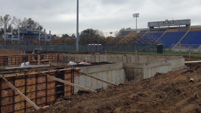 Cement work has started on Dana J. Dykhouse Stadium in Brookings.