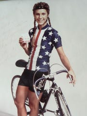 Beth Heiden , champion  speed skater and bike racer in 1981 at her ADA of Wisconsin welcome event.