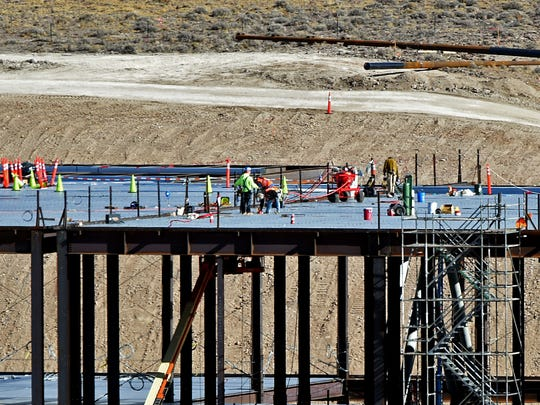 The Tesla gigafactory under construction at the Tahoe-Reno Industrial Center in February. The Tesla gigafactory under construction at the Tahoe-Reno Industrial Center on Feb. 5, 2015.