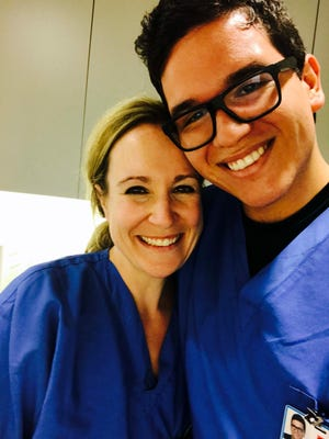 Alfredo Villalobos-Perez, an Immokalee Foundation student, pictured with Dr. Cate after two surgeries at Mount Sinai Icahn School of Medicine in New York City.