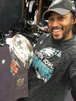 Will Beatty poses with the Lombardi Trophy after the Eagles won the Super Bowl. Next up? Taking care of his three young kids and building his massive house in Arizona. Then another shot in the NFL.