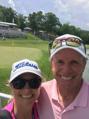 Jenni Pate caddied for her father in May at the Regions Tradition in Birmingham where he was on leaderboard after first round and finished among top 35 players.