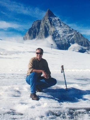 """Patrick Harper, shown a decade ago, was hiking alone in the shadow of the Swiss Alps' iconic Matterhorn on Dec. 26, 2016, when he fell for """"unexplained reasons"""" along a trail partially covered in snow drifts. The trail was closed to tourists after the fall."""