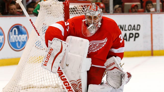 Detroit Red Wings goalie Petr Mrazek defends the net against the Tampa Bay Lightning on Saturday, March 28, 2015.