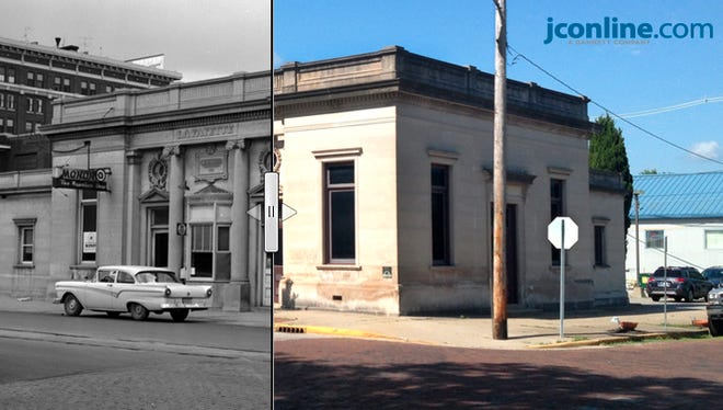 The Monon station at Fifth and North streets in Lafayette, May 25, 1959 compared to June 2, 2014.