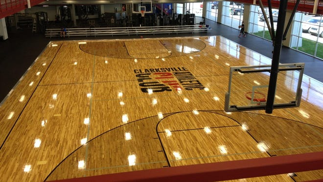 With the Clarksville Athletic Club logo at halfcourt, the new basketball floor is surrounded by an elevated track for walking and jogging, plus different customized fitness areas.