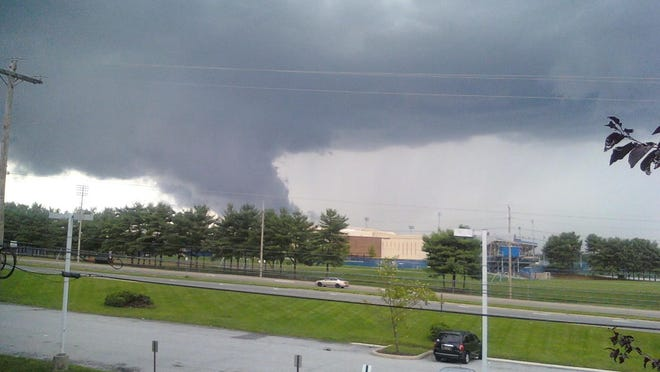 An ominous cloud seen at about 4:20 p.m. near the University of Delaware.