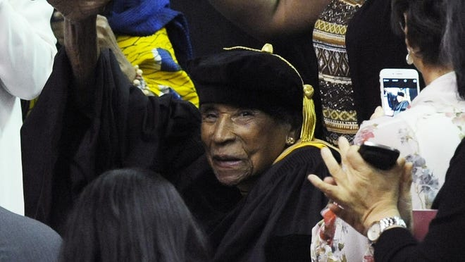 Civil Rights warrior Amelia Boynton Robinson is introduced at the Tuskegee University graduation exercises on Saturday May 9, 2015, in Tuskegee, Ala.