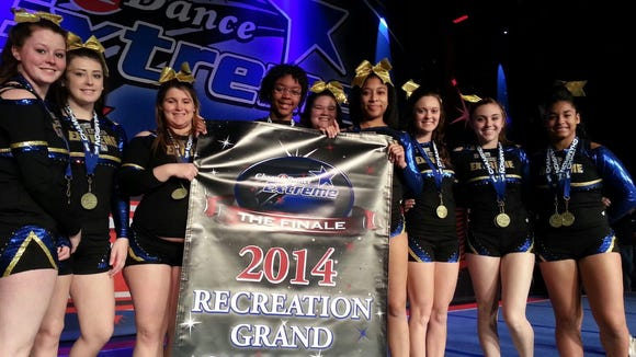 Tri Town Extreme closed its club cheerleading season by winning multiple titles Sunday at the Finale of the Cheer and Dance Extreme Tour in Sevierville, Tenn. (SUBMITTED -- VICKI LANDIS)