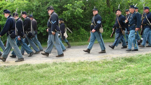 Union Civil War reenactors on the march in this photo from June 2010