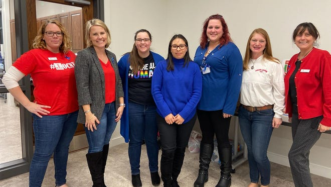 Junior League and Fearless! Volunteers at the Human Trafficking Awareness program held at the Goshen Public Library. From left: Rachel Losee, Lauren Rowley, Alyssa Picard, Diana Velez, Caryn Steffens, Barbara DeStafeno, Trish Chelsen. Not pictured: Pam O'Dea.