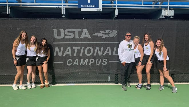 Nease tennis coach Mike Kypriss will be inducted into the Florida Athletic Coaches Association Hall of Fame in January. Kypriss has won 17 state championships during his 39 years as a varsity tennis coach at Miami Killian, Miami Dr. Krop and Nease. The 2020 team featured, from left, Darby Lambert, Brooke Albrecht, Ranya Benchaaboune, Mackenzie Valencic, Abby Damon and Grace Campbell.