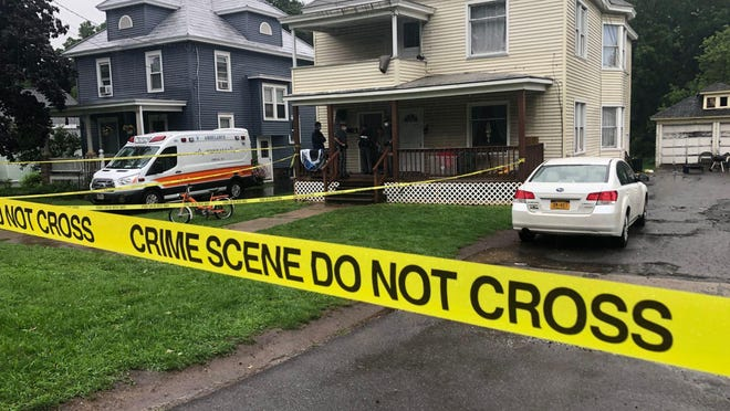 The Aug. 4 murder scene at 91 Seneca Ave. in Oneida Castle. Two suspects in the case have now been captured.