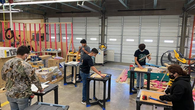 Students during this summers' Rural School Innovation Zone (RSIZ) grant program in coordination with the Los Mestinos Career Academy and Craft Training Center in Woodworking at Falfurrias High School.