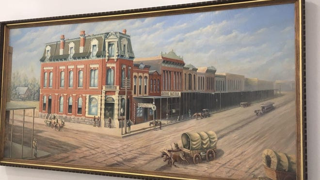 A 1940s painting of early Denison is among the more than 30 pieces of art that are on display in Denison City Hall as its first exhibit under the Art in the Hall program.