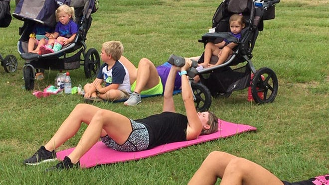 Mothers can exercise with their children nearby while attending the Effingham/Statesboro SLAM workout. The group gets together three times a week at the Clarence E. Morgan Central Recreation Complex and twice a week in Statesboro.